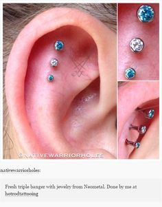 Body piercing jewellery - triple ear cartilage piercing