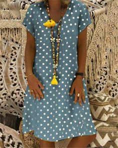 Plus Size Dot Printed Loose Dresses Size Bust Length Sleeve Shoulder cm inch cm inch cm inch cm inch Halter Neck Maxi Dress, V Neck Dress, Blouse Dress, Moda Mania, Boho Mode, Casual Dresses, Loose Dresses, Printed Dresses, Maxi Dresses