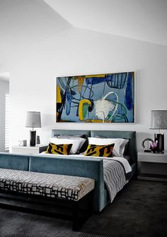 Home Interior Plants Templestowe - Classic bedroom layout with a modern twist of colour with Suzanna Lang artwork. Home Bedroom, Modern Bedroom, Bedroom Furniture, Bedroom Decor, Master Bedroom, Modern Wall, Bedroom Ideas, Bedroom Layouts, Bedroom Designs