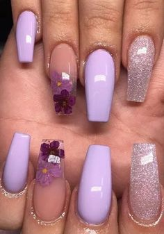 5 Different Acrylic nails ideas and How to Acrylic Nails Every day, the methods that people develop to flourish and care are growing rapidly. One of these is the acrylic nail fashion which has been on too many agenda lately. So, what is this acrylic nail? Purple Acrylic Nails, Purple Nail Art, Clear Acrylic Nails, Cute Acrylic Nails, Gel Nails, Nail Polish, Coffin Nails, Matte Nails, Purple Nails With Design