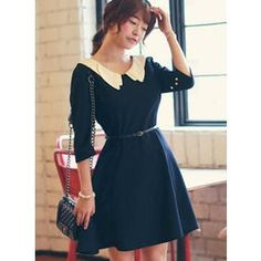 Buy 'HOTPING – Contrast Collar A-Line Dress with Belt' with Free International Shipping at YesStyle.com. Browse and shop for thousands of Asian fashion items from South Korea and more!