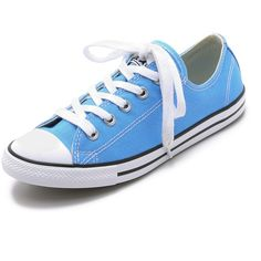 Converse Chuck Taylor All Star Dainty Sneakers ($55) ❤ liked on Polyvore featuring shoes, sneakers, converse, monte blue, blue shoes, converse trainers, slim shoes, blue sneakers and converse sneakers