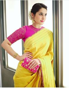 Looking for best contrast blouse ideas to try with yellow saree? Here are 13 pretty colors that can add whole lot of charm to your vibrant yellow sarees! Pink Saree Blouse, Silk Saree Blouse Designs, Saree Blouse Patterns, Wedding Saree Blouse Designs, Linen Blouse, Saree Wedding, Blouse Back Neck Designs, Sari Bluse, Indische Sarees