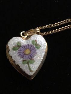 VINTAGE HOBE SIGNED  GUILLOCHE ENAMELED HEART LOCKET PENDANT NECKLACE  | eBay