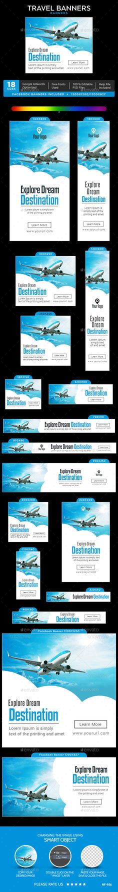 Travel Web Banners Template PSD #ad #promotion #design Download: http://graphicriver.net/item/travel-banners/14276098?ref=ksioks