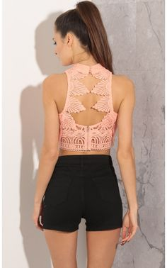 3e65460cd1a8 Tops   High Neck Crochet Lace Crop Top In Coral