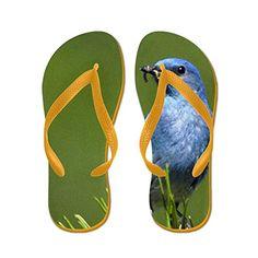 3ac7d9c5a47de Truly Teague Womens Blue Bird on an Evergreen Orange Rubber Flip Flops  Sandals 11512 --