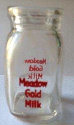 "Vintage Dairy Creamer Meadow Gold Milk Bottle 2 1/4"" Tall  X 1 1/8""  - looks nice in pics $30.00 [ 9 bids] still open $4.95 sh Milk Jars, Old Milk Bottles, Vintage Bottles, Gold Milk, Vintage Kitchenware, Crock, Mason Jars, How To Look Better, Cups"