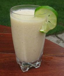 Lime-Coconut Smoothie    -1 Thai coconut (meat and water)  -1 lime juiced  -2 frozen bananas  -1 tablespoon of coconut butter (or oil)  -1 tablespoon of raw coconut flakes    Mix all together in blender and enjoy!