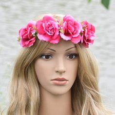 Fabric Hibiscus Rose Flower Crown Wianki Elasticity Headband Hairband Wedding Hairstyles Ties Floral Crowns Fairy Wedding Women #WeddingHairstyles