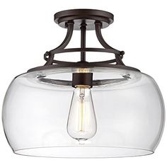 Arts and Crafts - Mission Charleston 13 Wide Clear Glass Ceiling Light - modern - Ceiling Lighting - Lamps Plus Hall Lighting, Entryway Lighting, Flush Mount Lighting, Lighting Ideas, Bathroom Lighting, Laundry Room Lighting, Cabin Lighting, Closet Lighting, Dramatic Lighting