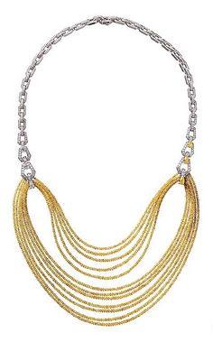 "CARTIER. ""Divination"" Necklace - yellow faceted diamond beads, yellow diamonds, brilliant-cut diamonds. #Cartier #CartierMagicien #HauteJoaillerie #HighJewellery #FineJewelry #YellowDiamonds #Diamonds"