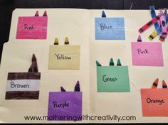 Mothering with Creativity: Crayon File Folder Game 4 Year Old Activities, Educational Activities, Toddler Activities, Summer Activities, Toddler Fun, Toddler Learning, Learning Activities, File Folder Activities, File Folder Games