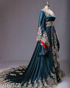 2016 Medieval Vestido De Noiva Azul Escuro Apliques Frisado Vestidos De Noiva Personalizado
