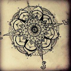 Back Leg Nautical Compass Tattoo Design photo - 1