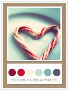 White, Red, Cream, Cool, Dusky Aqua, Antique Purple