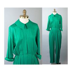 Silk Jumpsuit Emerald Charmeuse Peter Pan by waywardcollection, $40.00