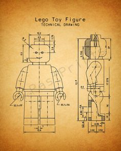 Lego Printable Lego Figure Techincal Drawing by ThePastPrints