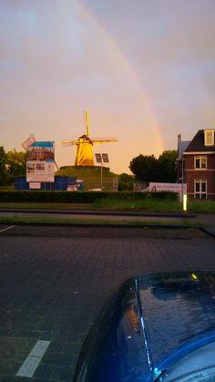 Na de storm en regen komt de regenboog. De foto is s'avonds omstreeks 22.00 uur gemaakt.