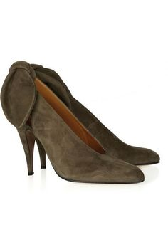 Carven~Olive Suede and Bowed