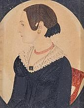 JUSTUS DALEE (1793 - 1878)   Miniature Portrait of Woman in Black Dress with Lace Collar Wearing Red Necklace