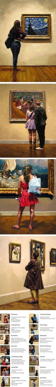 Atlanta based painter Karin Jurick series of paintings of art museum patrons, in situ, as it were, their backs to the viewer as they stood engrossed in the artwork before them.