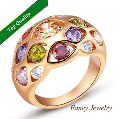20% 2014  Fashion The Vampire Diaries Vintage Multi Color wide Simulated Diamond Ring Jewelry for Woman Ladies Party Dating J424 $7.52