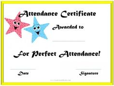 Free printable perfect attendance certificate templates to award to students for attendance. All award certificates can be customized and printed for free! Perfect Attendance Certificate, Education Certificate, Certificate Of Appreciation, Award Certificates, Teacher Appreciation, Free Printable Certificate Templates, Birth Certificate Template, Certificate Design, Free Printables