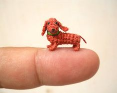 Too adorable! Miniature Dachshund Sausage Dog - Teeny Tiny Dollhouse Crochet Pet - Made To Order