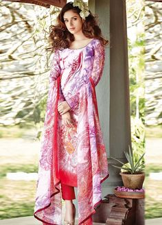 White and Pink Colour #Lawn #Cotton #StraightCut #Casualwear #Suit.