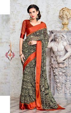 Picture of Dazzling Black Printed Saree