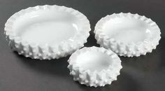 FENTON Hobnail-Milk Glass 3 pc ashtray set