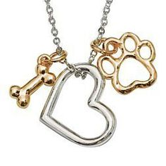 Signs and Plaques 46299: New Rockin Doggie Paw Necklace Heart With Gold Plated Bone And Paw BUY IT NOW ONLY: $89.51