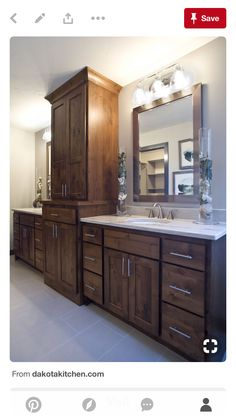 Photo Gallery For Photographers Knotty alder vanity with a large linen tower dual sinks and white quartz countertops