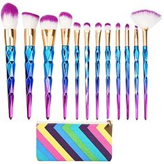 Elephant XuUnicorn Design Brushes 12Pcs Diamond Shape Makeup Brushes Set Beauty Cosmetic Eyeshadow Lip Powder Face Pinceis Tool Kabuki Brush Kits Pincel >>> Click image for more details. (This is an affiliate link) #MakeupBrushesTools
