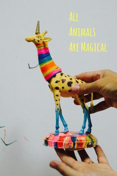 All animals are magical at figment creative labs -unicorn / plastic animal craft Plastic Animal Crafts, Plastic Animals, Animal Art Projects, Craft Projects, Animal Party, Party Animals, Creative Labs, Creative Ideas, Festa Party