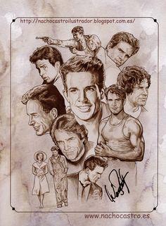 "Warren Beatty,illustration from the book ""men of Hollywood"".Nacho Castro.Diábolo Ediciones"
