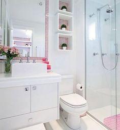 Banheiro fofo com detalhes em rosa (imagem não autoral) #decoracaoqueinspira #decoracaodeinteriores #decoracao #decoração #decor #homedecor #decorideas #instadecor #arch #arquitetura #architecture #architektur #projeto #design #designdeinteriores #interiordesign #beautiful #ideas #inspiration #inspiracao #banheiro #wc #bathroom #toilet #sanitario #rosa #pink