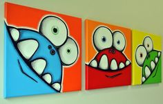 mONSTeRS hAVE SiLLy tEETH - set of 3 original acrylic paintings for kids room or nursery, monster art, monster wall art for kids Drawing For Kids, Painting For Kids, Art For Kids, Cartoon Drawings, Cute Drawings, Acrylic Paintings, Acrylic Art, Original Paintings, Kids Room Paint