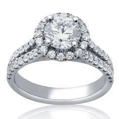 1.90ctw Round Cut Antique Style Split Shank Diamond Engagement Ring R185