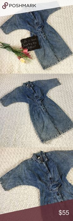"""Vintage Timely Trends denim dress❤❤ This denim dress is A-MAZING!!!! It is vintage Timely Trends brand. Made in the USA. Very grunge looking! Acid wash. This could be worn many ways!! It looks like it may have a spot on the front at the bottom but with the grunge look it's not noticeable. Size 7/8. 17"""" arm pit to arm pit. 12.5"""" waist. 39"""" length. Dresses"""