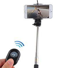 5IVE Selfie Stick Extendable Handheld Monopod Pole with Adjustable Phone Holder (Bluetooth Shutter + Black Stick) 5ive