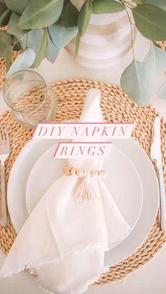 Beaded Napkin Rings, Diy Napkin Rings, Wooden Napkin Rings, Diy Crafts Hacks, Diy And Crafts, Home Crafts, Simple Diy, Easy Diy, Modern Napkins
