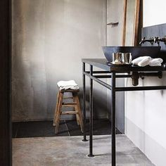 Bathroom styling | A wooden ladder, a vintage stool, linen + Aesop