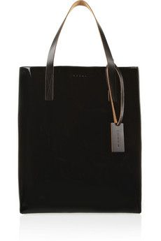 Marni Two-tone faux patent-leather tote | NET-A-PORTER