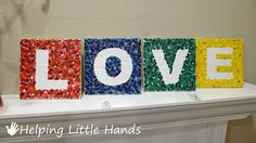 Melted Crayon Art Tutorial: LOVE Letter Tiles *** Monograms for the girls' rooms?