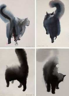 Elegent And Dreamlike Paintings Of Cats Made From Black Ink