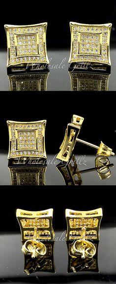 Earrings Studs 14085: New! 14K Gold Finish Mens Custom 3D Kite Simulate Diamond Iced Hip Hop Earrings! -> BUY IT NOW ONLY: $25.99 on eBay!