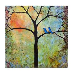 CafePress  Sunshine Tree  Tile Coaster Drink Coaster Small Trivet >>> Check out this great product. (This is an affiliate link) #FurnitureBarCoasters