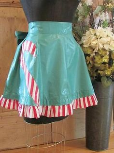 Vintage 1940 50s Ruffled Candy Cane Applique Christmas Apron 2 Avail | eBay Vintageblessings
